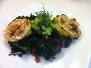 purple kale with leek and potato cakes